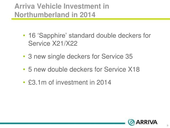 Arriva Vehicle Investment in Northumberland in 2014