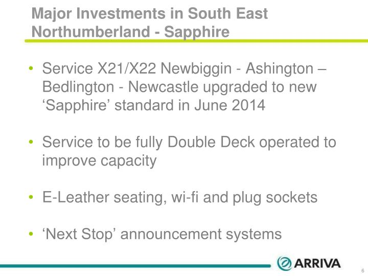 Major Investments in South East Northumberland - Sapphire