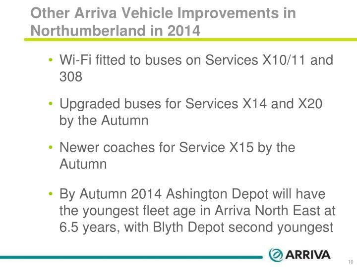 Other Arriva Vehicle Improvements in Northumberland in 2014