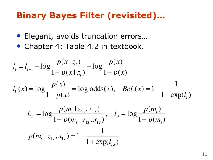 Binary Bayes Filter (revisited)…