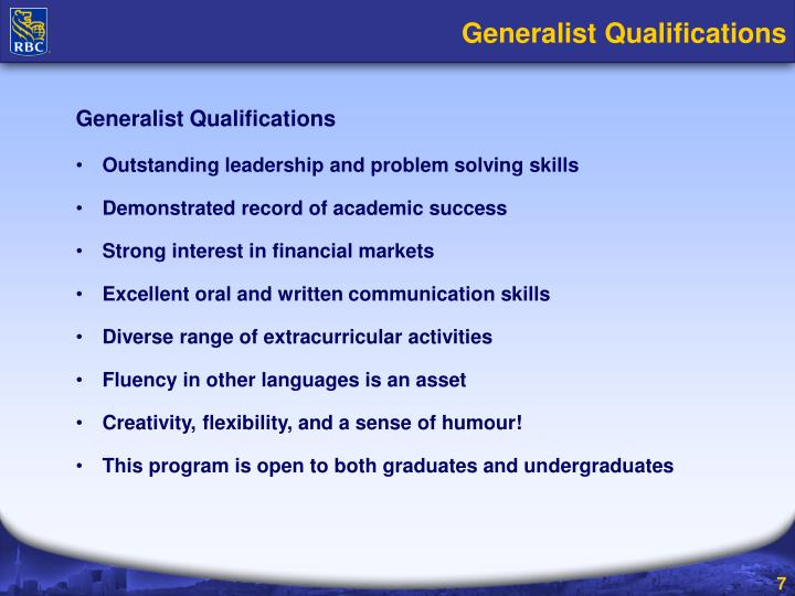 Generalist Qualifications