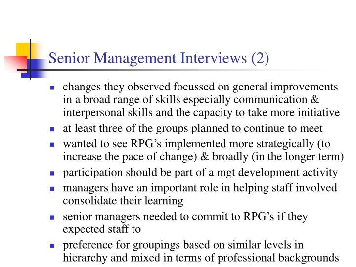 Senior Management Interviews (2)