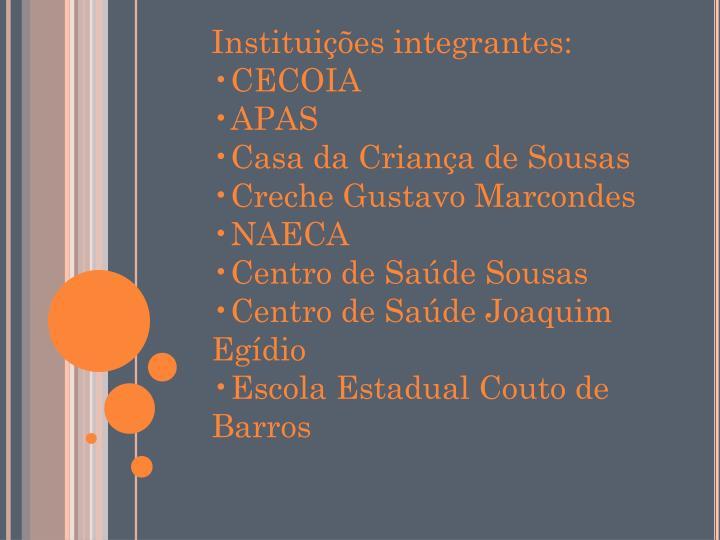 Instituições integrantes: