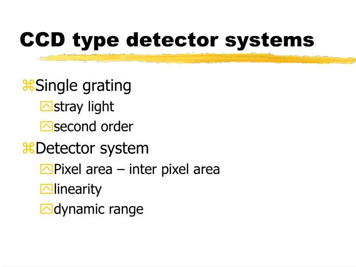 CCD type detector systems