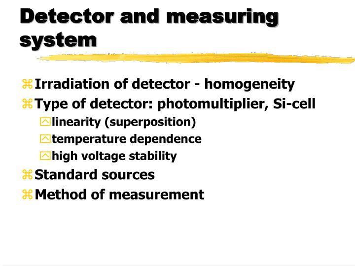 Detector and measuring system