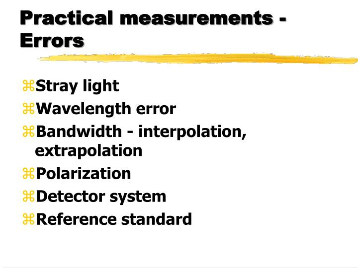 Practical measurements - Errors