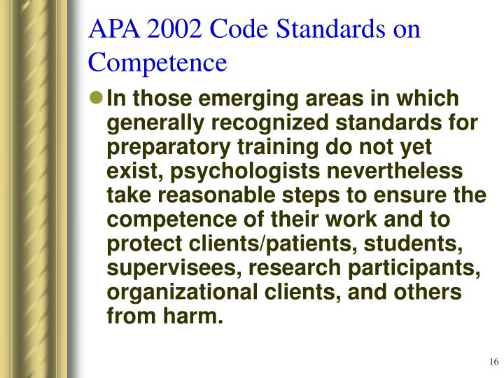 APA 2002 Code Standards on Competence