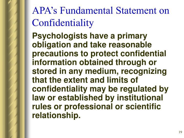 APA's Fundamental Statement on Confidentiality