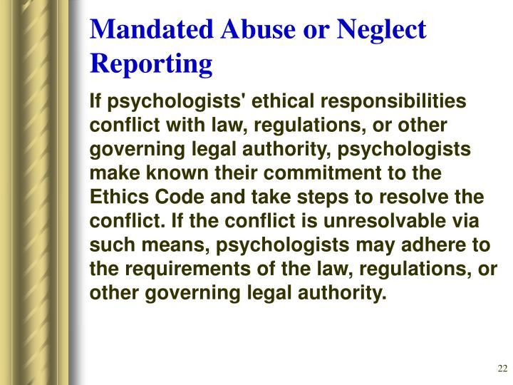 Mandated Abuse or Neglect Reporting