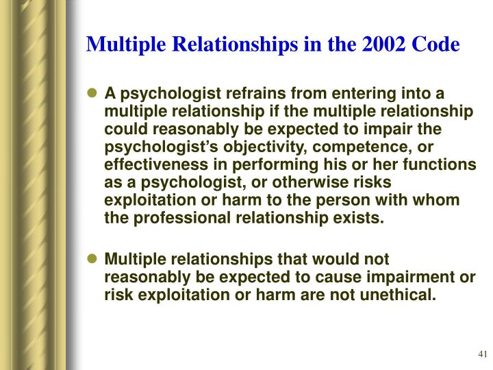 Multiple Relationships in the 2002 Code