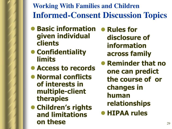 Basic information given individual clients