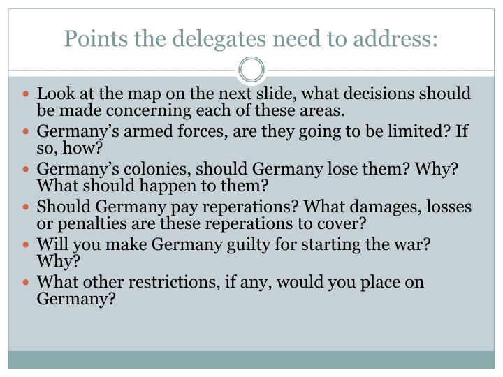 Points the delegates need to address: