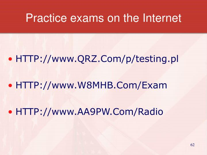 Practice exams on the Internet