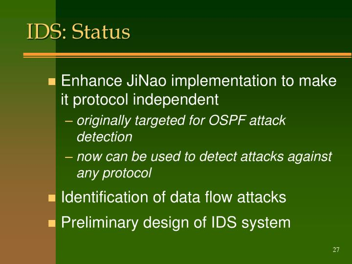 IDS: Status
