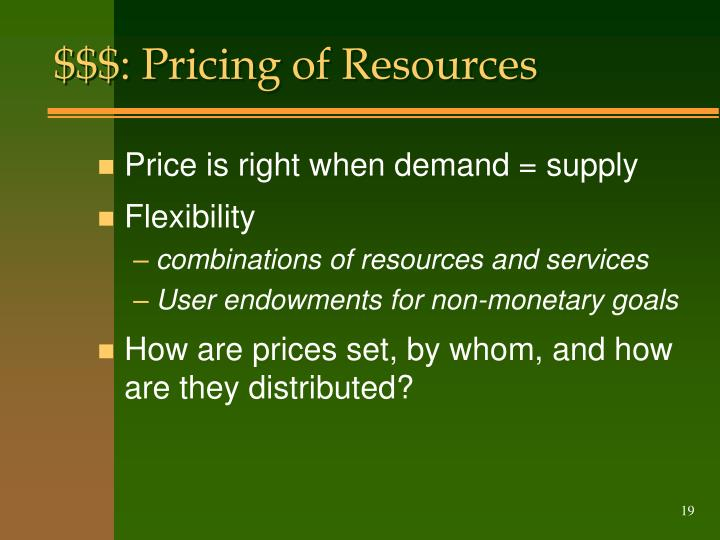 $$$: Pricing of Resources