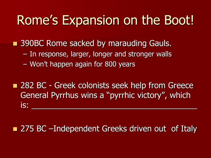 Rome's Expansion on the Boot!