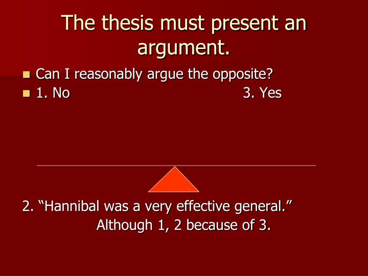 The thesis must present an argument.