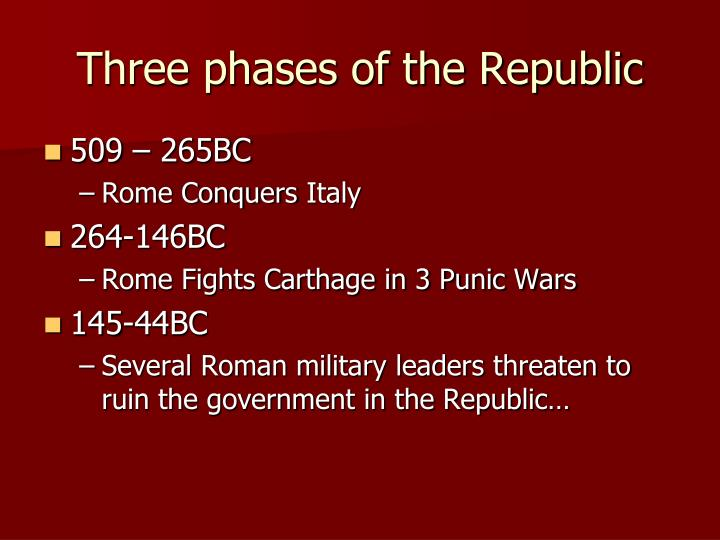 Three phases of the Republic