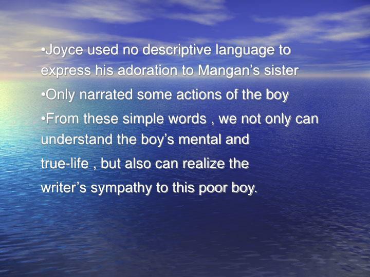 Joyce used no descriptive language to express his adoration to Mangan's sister