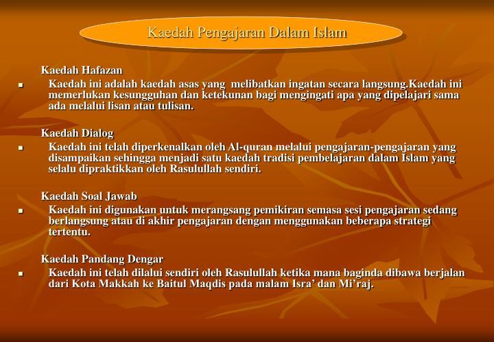 Kaedah Pengajaran Dalam Islam