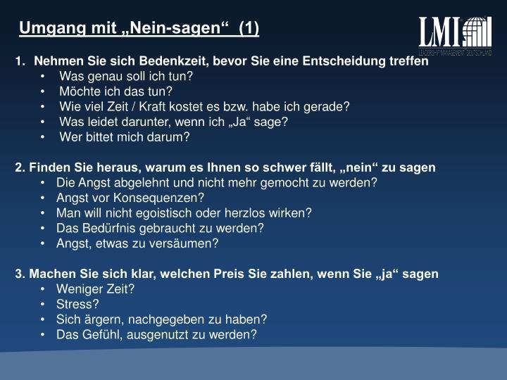 """Umgang mit """"Nein-sagen""""  (1)"""