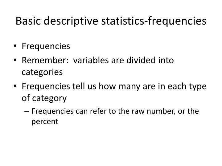 Basic descriptive statistics-frequencies