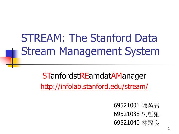 stream the stanford data stream management system n.