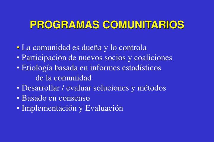 PROGRAMAS COMUNITARIOS