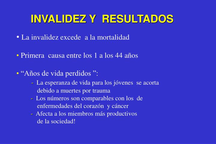 INVALIDEZ Y  RESULTADOS