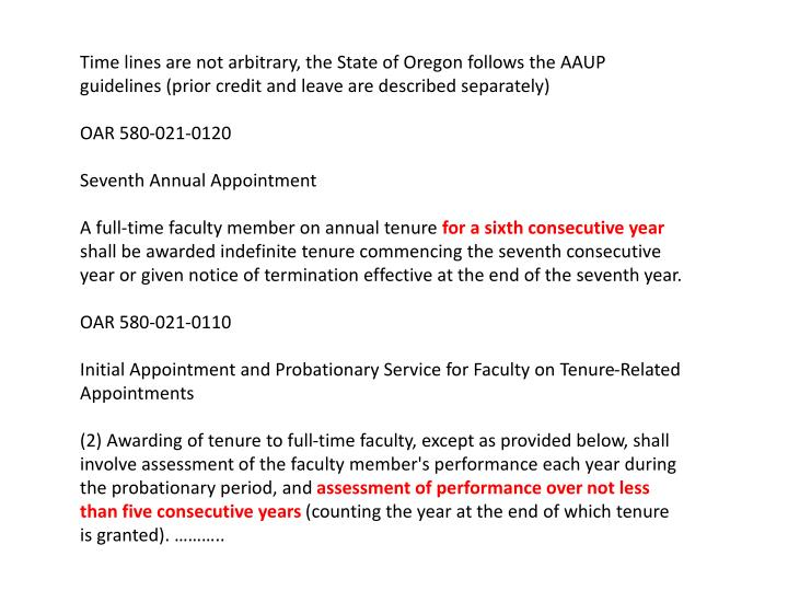 Time lines are not arbitrary, the State of Oregon follows the AAUP guidelines (prior credit and leav...