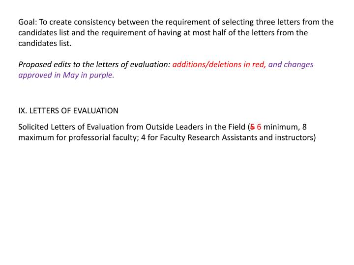 Goal: To create consistency between the requirement of selecting three letters from the candidates list and