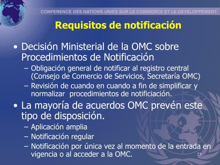 Requisitos de notificación