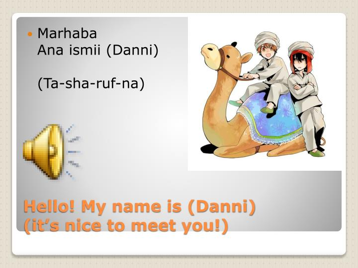 Hello my name is danni it s nice to meet you