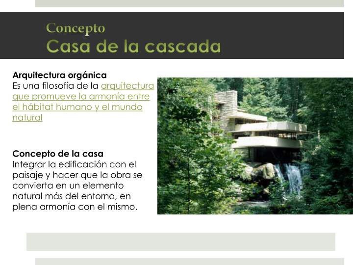 Concepto casa de la cascada