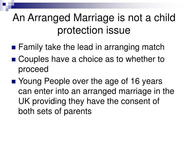 An Arranged Marriage is not a child protection issue