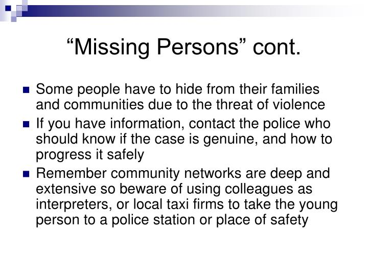 """""""Missing Persons"""" cont."""