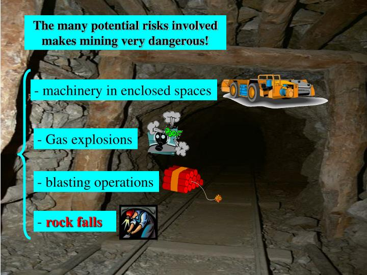 The many potential risks involved makes mining very dangerous!