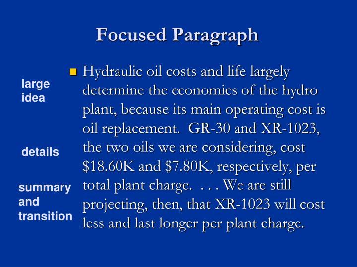 Focused Paragraph
