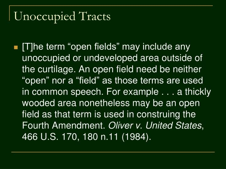 Unoccupied Tracts