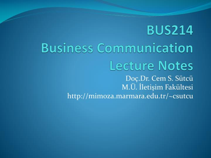 bus214 business communication lecture notes n.