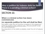 may a petition for habeas data be filed if there is a pending criminal action