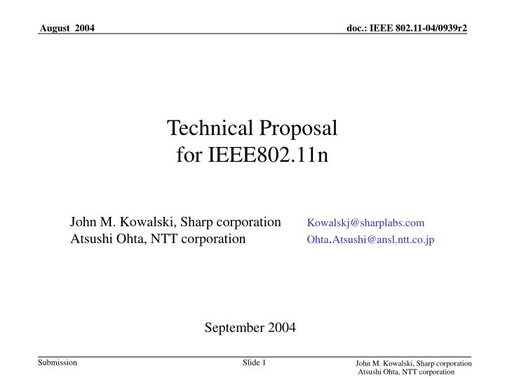 technical proposal for ieee802 11n n.