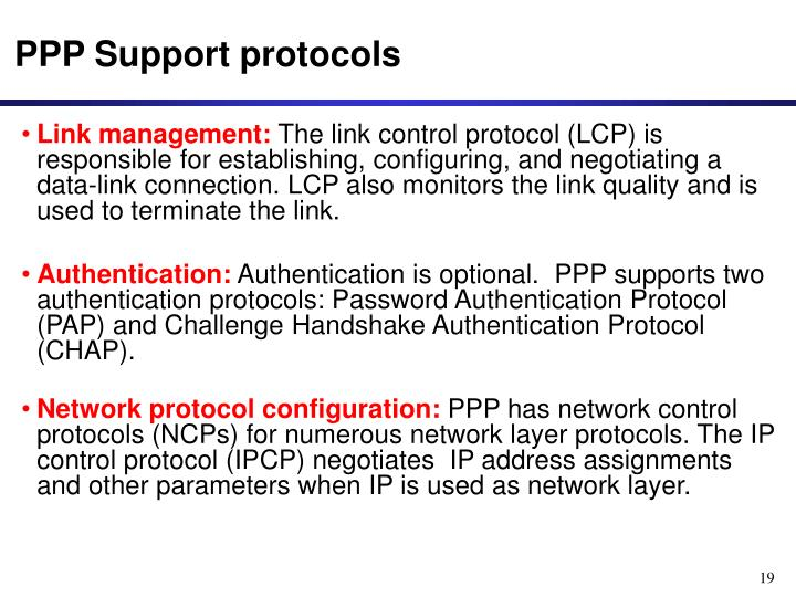 PPP Support protocols