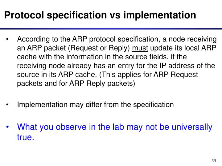Protocol specification vs implementation