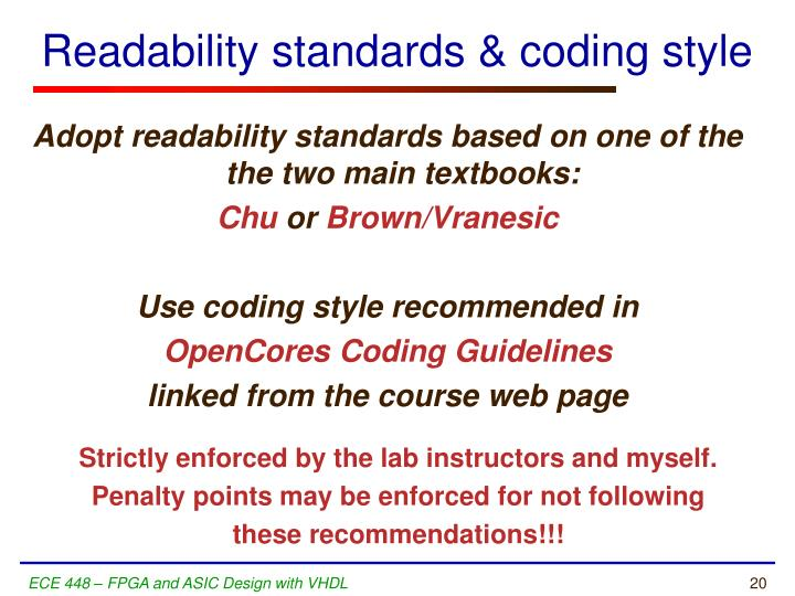 Readability standards & coding style