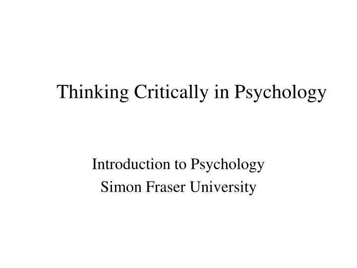 thinking critically in psychology n.