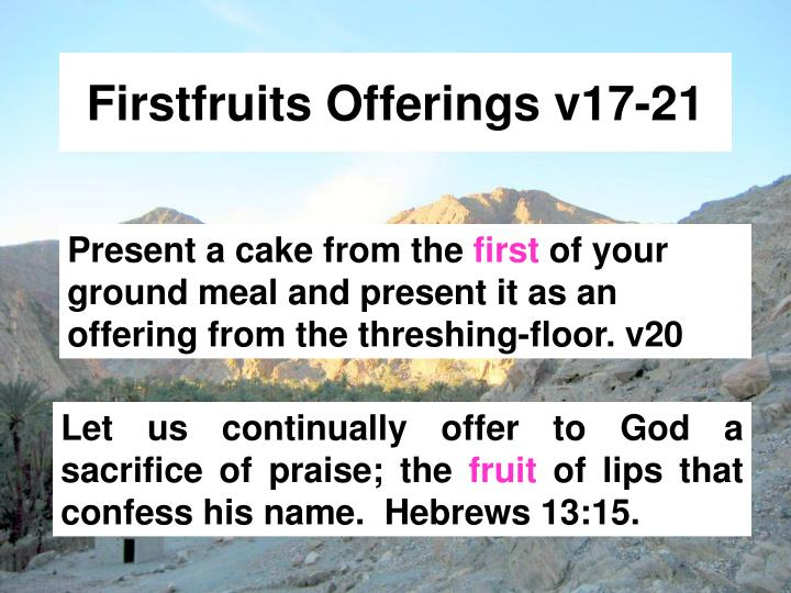 Firstfruits Offerings v17-21
