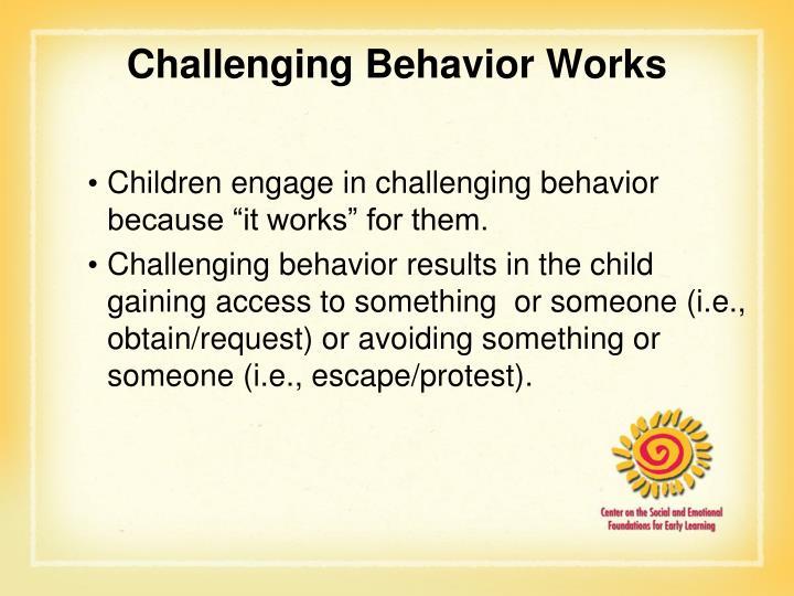 Challenging Behavior Works