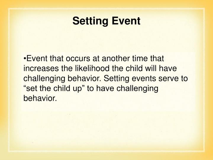 Setting Event