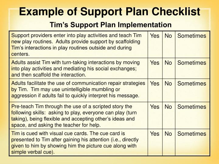 Example of Support Plan Checklist